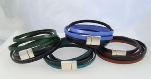 Leather Wrap Around Bracelet with Double Pressure Clasp